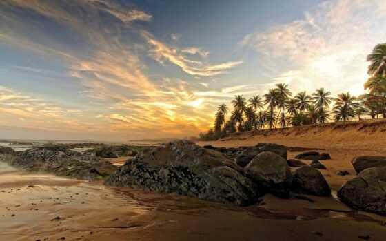 пальмы, песок, море
