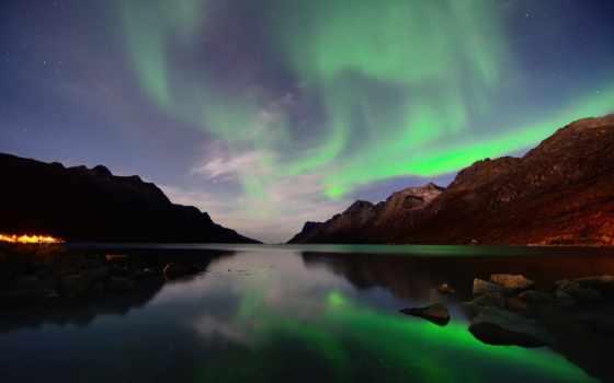 северное, сияние, норвегия, горы, ночь,