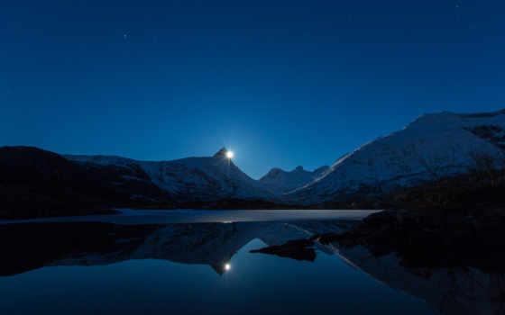 луна, гора, сзади, отражение, desktop,