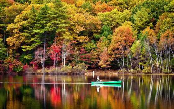 осень, река, отражение, trees, лодка, consciência, viver, рыбалка, лес, you,