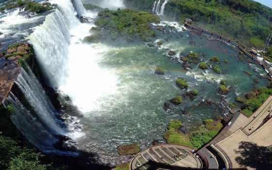 игуасу, водопады, водопад, iguaçu, приблизительно, лет, brazilian, туристы, скалы, отложения,