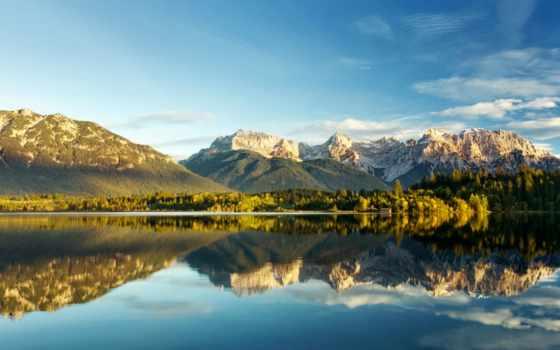 обои, горы, озеро, природа, облака, деревья, небо,