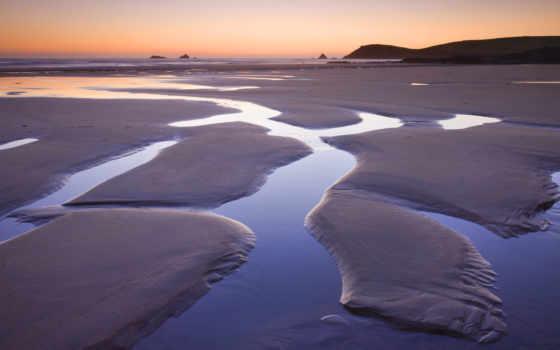 море, песок, берег, закат, графика, лужи,