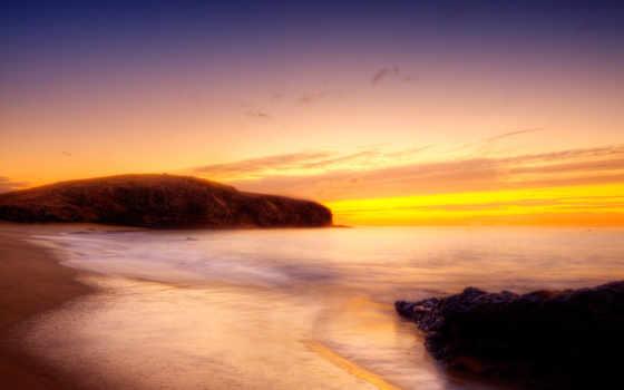 закат, desktop, фото, золотистый, ocean, со,