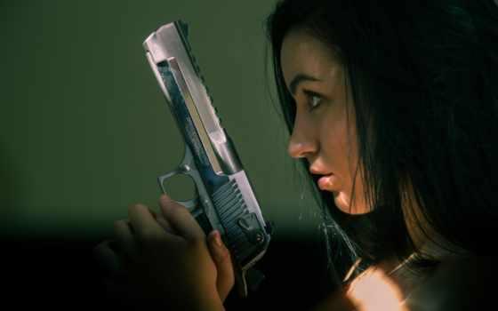 , пистолет, девушка,