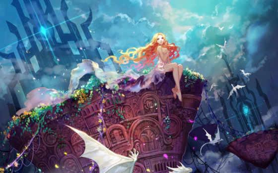 драконы, anime, cvety, небо, art, девушка, растения, oblaka, сидит, asuka,