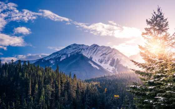ipad, pro, mountains, гора, фон, banff, parallax, канада