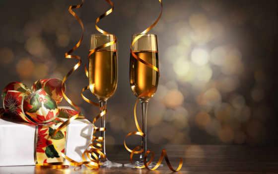 шампанское, бокалы, праздник