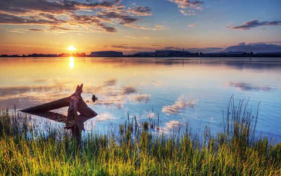 закат, солнце, река