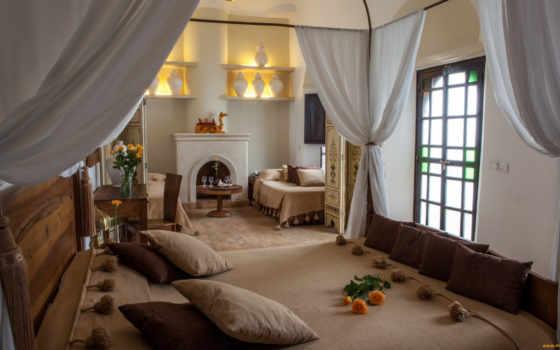 интерьер, спальня, стиле, марокканском, кровать,