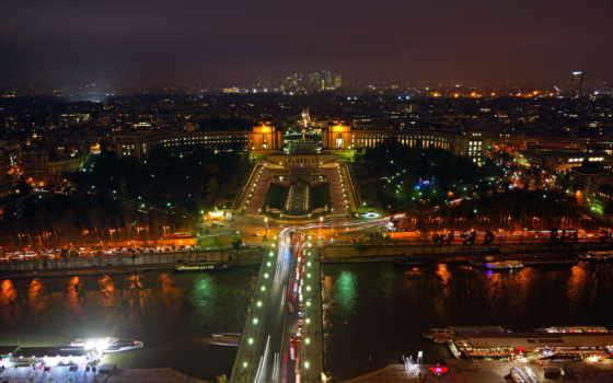 париж, french, высокого, разрешения, ночь, город, высоты, фотографий, эйфелева, мост, полёта,