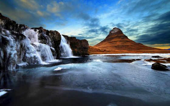 kirkjufell, остров, водопад, iceland, wasserfall, гора, вулкан,
