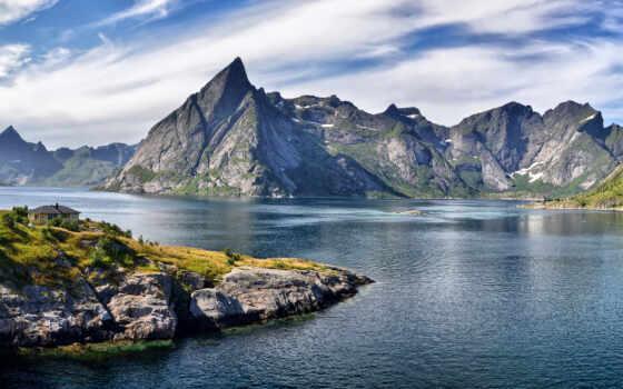 горы, house, скалы, oblaka, острые, пики, privacy, лес, fjord, height, прислал,