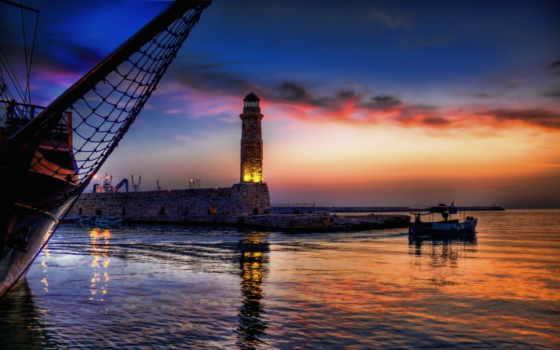 пейзажи -, красивые, landscape, море, природа, небо, lighthouse, морские, favourite, rising, sun,