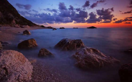 море, горизонт, берег, waves, небо, камни, deviantart, вечер, oblaka, природа, страница,