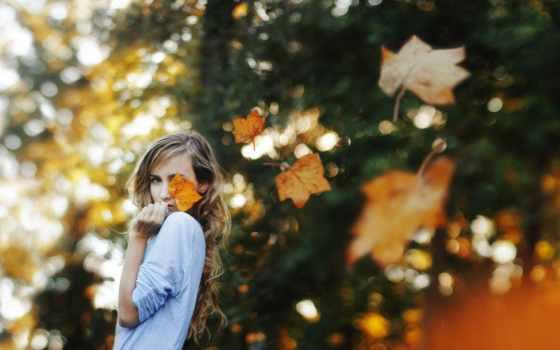 осень, девушка, настроение, листья, resolution, free,