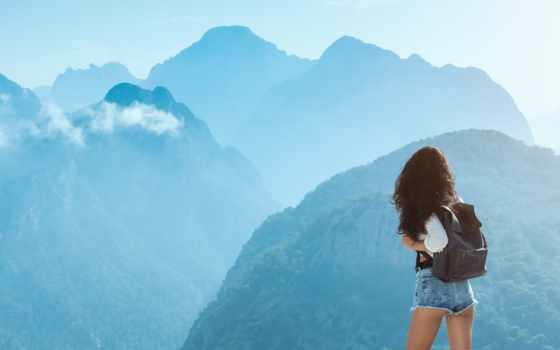 гора, brunette, трусы, девушка, рюкзак, tourist, mix, attractive, top, landscape, slim