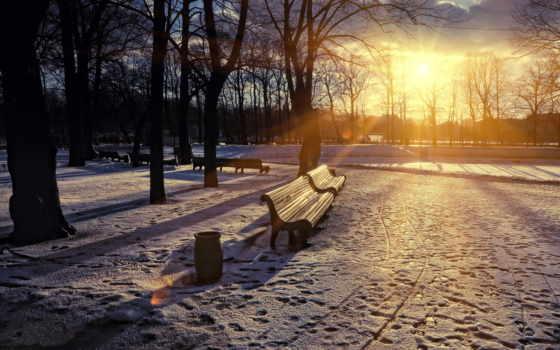парк, скамья