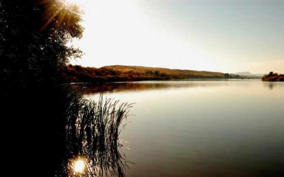 рассвет, озере