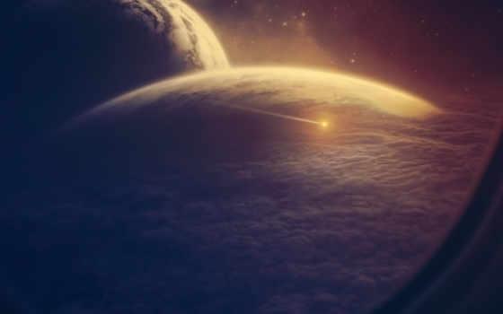 космос, планета, иллюминатор, облака, корабль, астероид, planets, outer, пространства, космического, картинка, планеты,