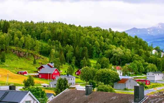 норвегия, горы, дома
