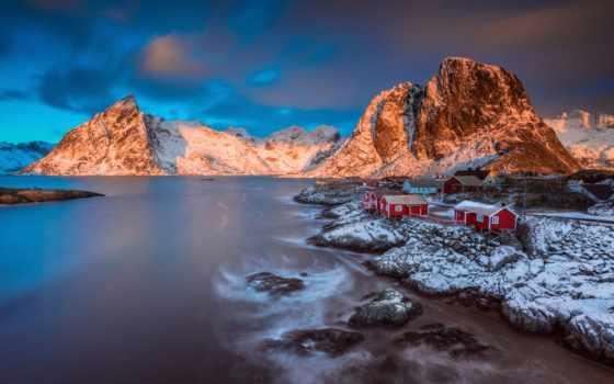 lofoten, winter, islands, moskenes, норвегия, изображение, архипелаг, пляжный, houses, nordland,