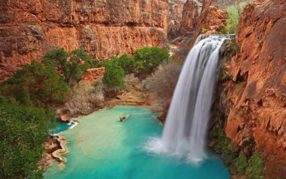 водопад, скалы, водопады, falls, горы, havasu, trees, havasupai, arizona,