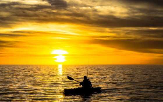 лодка, закат, рыбак, море, река, рыбалка, природа, лодки,