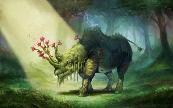 zhivotnye, волшебные, fantasy, фантастика, cvety, картинку,