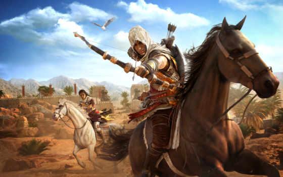 creed, assassin, origins, игры, лучники, лук, лошади, ubisoft, воители, assassins,