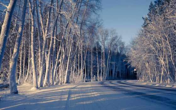 winter, widescreen, снег, природа, фон, full, дорога, экран,