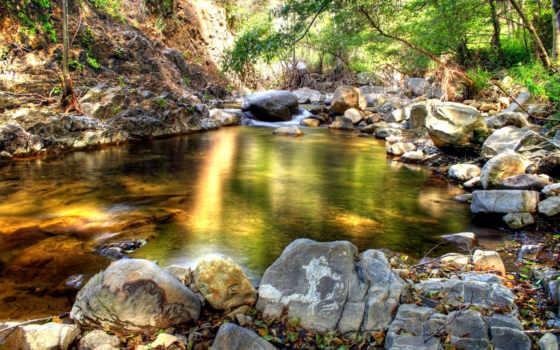ручей, камни, лес, водопад, daler, разрешения, everything, природа, trees, река, getbg,