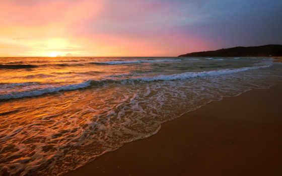 пляж, закат, samsung, galaxy, knowledge, замок, desktop, природа,