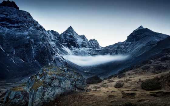 природа, гора, туман