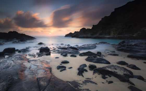 берег, free, kartinik, камень, море, рассвет, rock