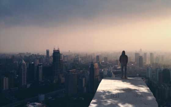одиночка, город, boy, мужчина, stand, build, лицо, парень