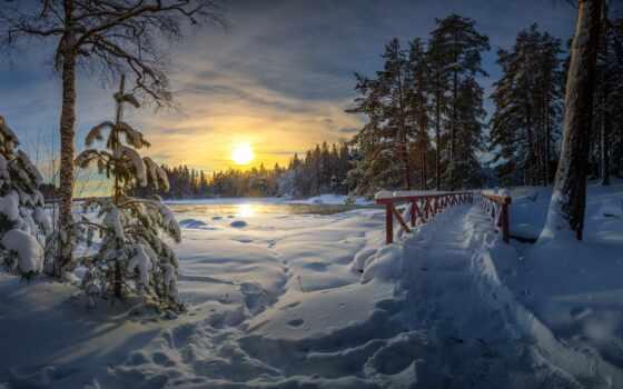 финляндия, winter, закат, снег, дерево, landscape, elevation, koskelontie, fore