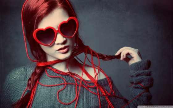 девушка, нитка, сердце, очки, свитер, косы, бронзовый