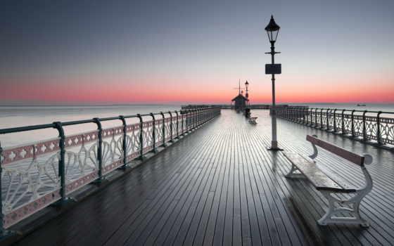 пирс, скамейки, закат,фонари, море