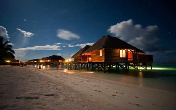 пляж, ночь, maldives, resort,