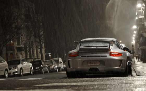 дождь, porsche, автомобили, улица, авто, взгляд, машины, картинка, сзади,