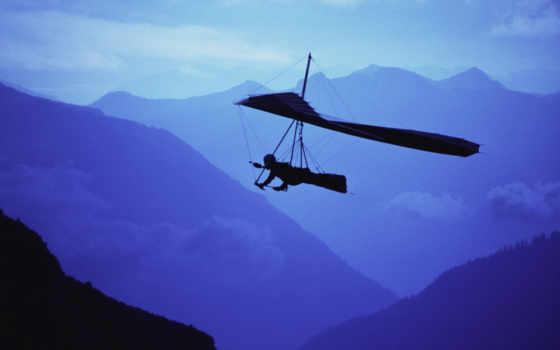 ,дельтаплан, горы, небо, полет,