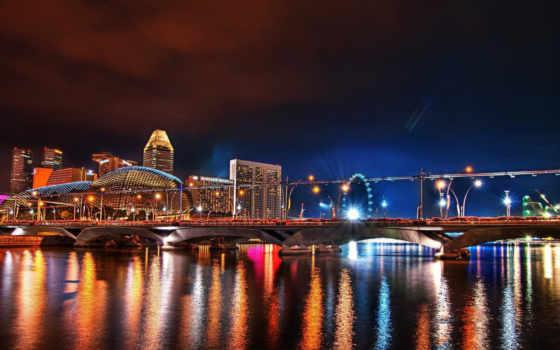 город, ночь, города, яркие, architecture, ночью, захватывающие, мост, ночного, раскрасят,