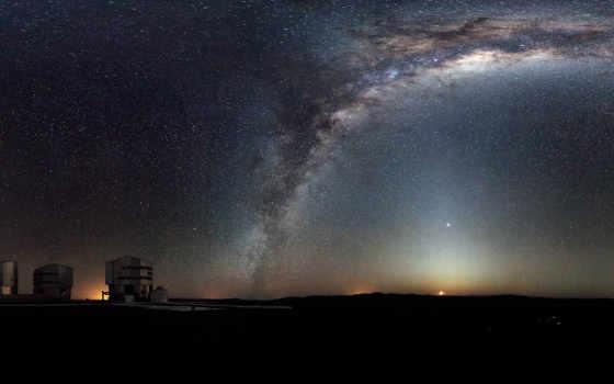небо, панорама, paranal, degree, звездного, неба, southern, rare, eso, звездное,