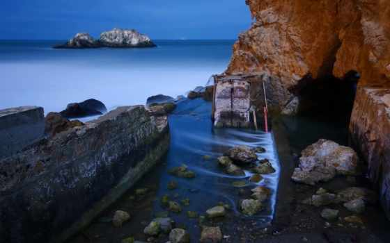берег, море, скалы, моря, камни, вечер,