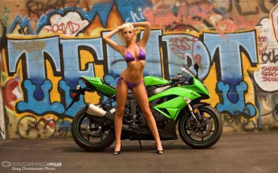 kawasaki, ninja, motorcycles, мотоцикл, девушка, more,