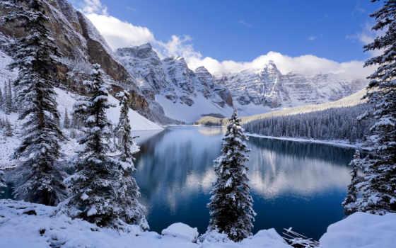 winter, пейзажи -, озеро, снег, лес, oboi, программы, только, янв, time,