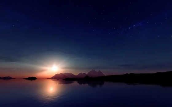 закат, горы, sun, луна, картинка, звезды, отражение, full,