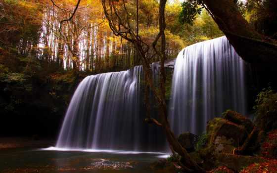 осень, природа, trees, река, водопад,