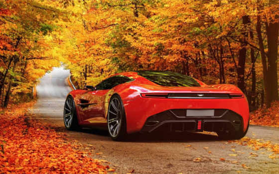 aston, martin, dbc, авто, спорткар, красный, осень,